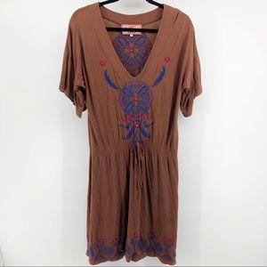 Johnny Was LA Brown Embroidered Tribal Mini Dress